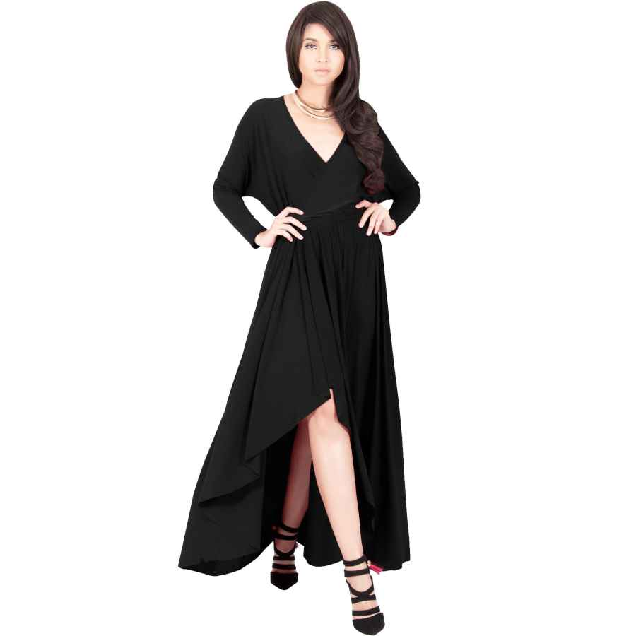 Womens Casual Dresses Koh Koh Womens Sleeve Wrap Slit Formal Fall Winter Cocktail Gown