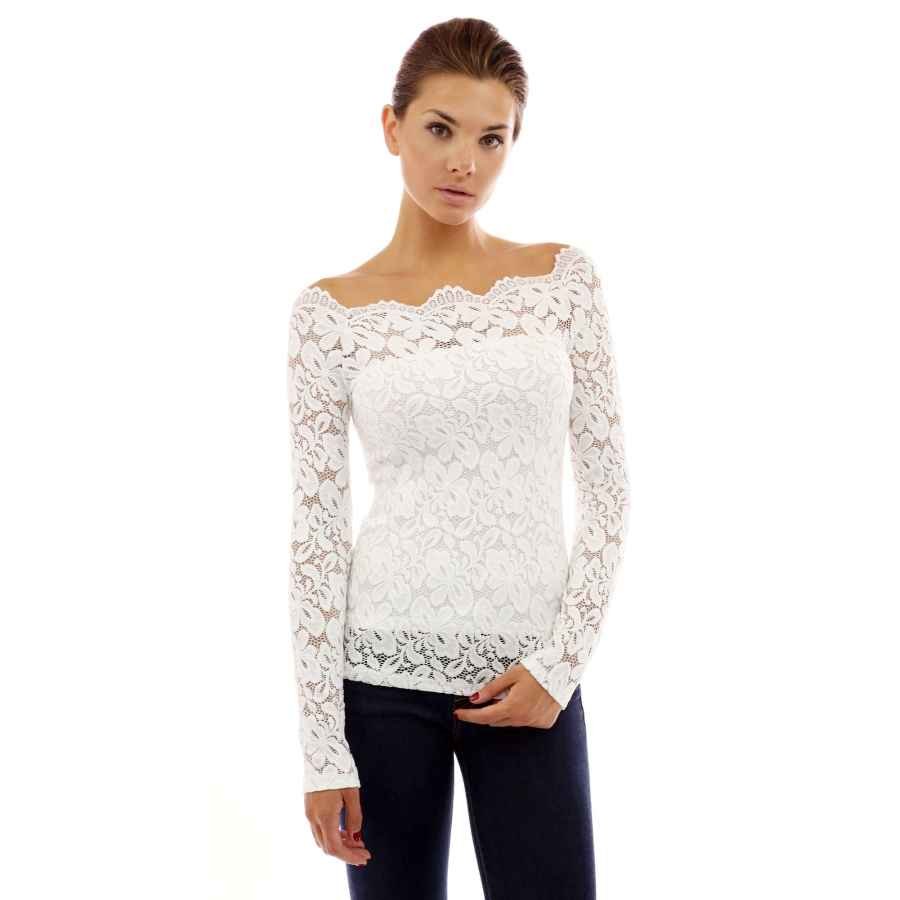 Blouses pattyboutik women floral lace off shoulder top