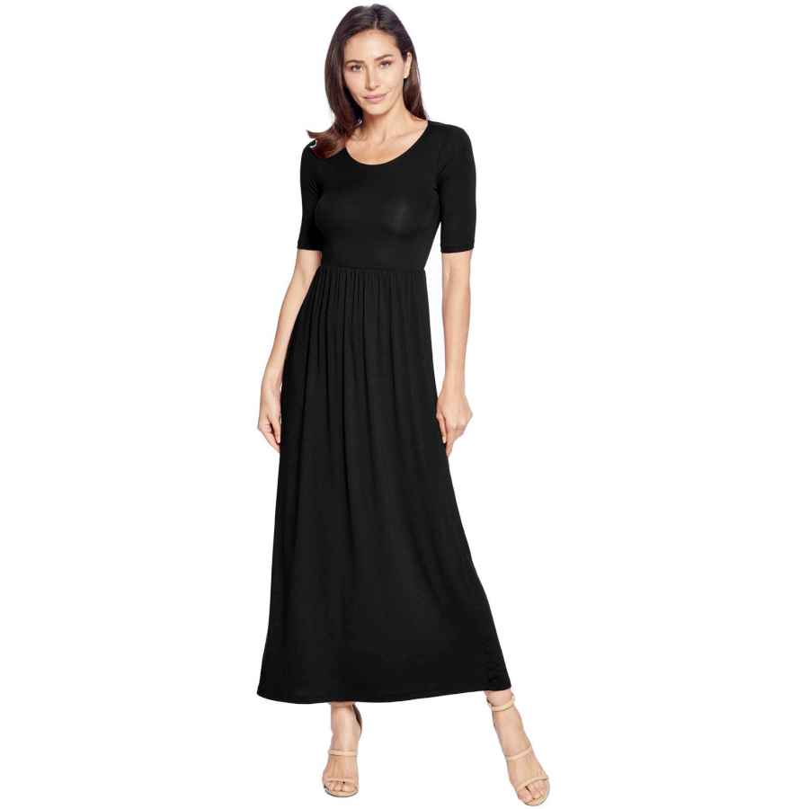 Womens Casual Dresses 82 Days Women's Casual 3/4 Sleeve Long Maxi Dress With Elastic Waist Made In Usa