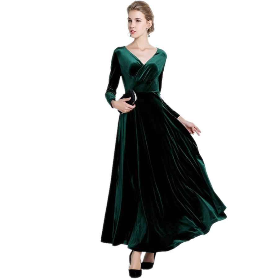 Womens Casual Dresses Medeshe Women's Christmas Long Sleeve V Neck Velvet Maxi Dress