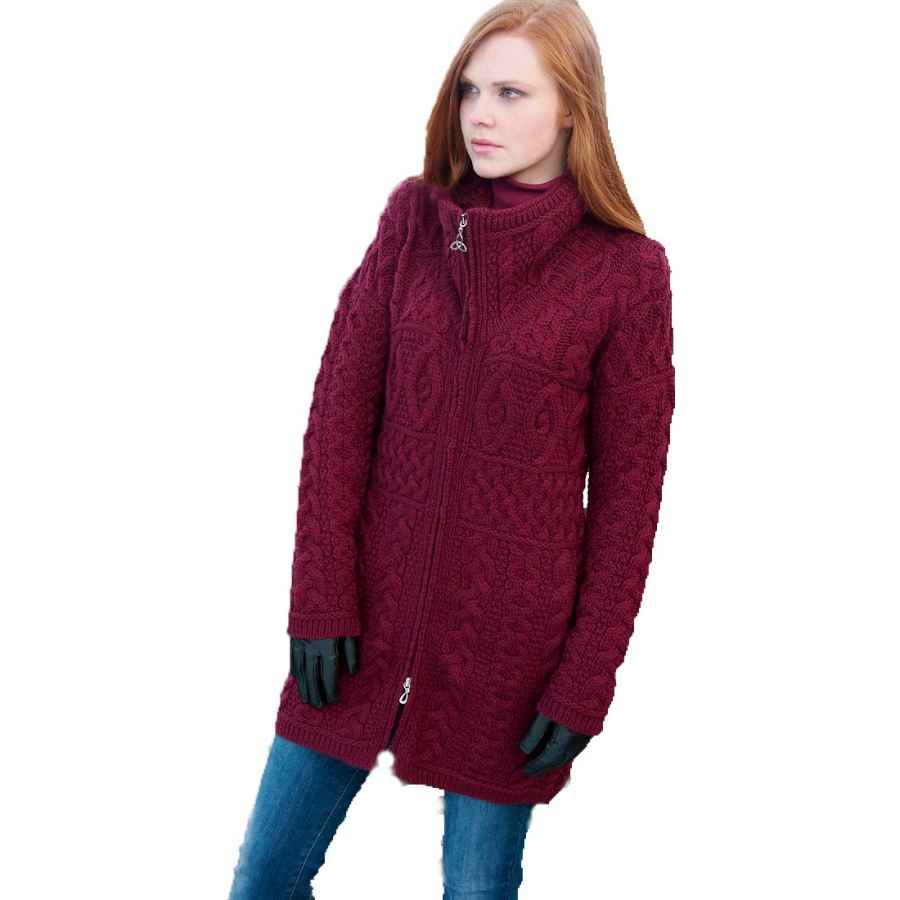 Aran Crafts 100% Merino Wool Ladies Double Collar Coat Wine