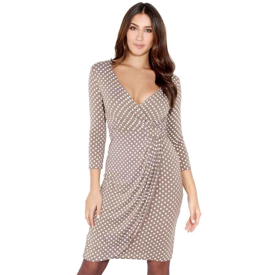 Womens Casual Dresses Krisp Women 3/4 Sleeve Midi Wrap Dresses V-Neck Work Wear Business Casual Party