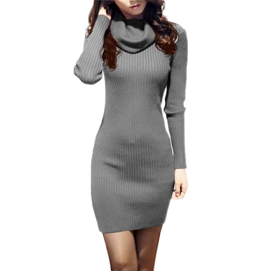Womens Casual Dresses V28 Women Cowl Neck Knit Stretchable Elasticity Long Sleeve Slim Fit Sweater Dress