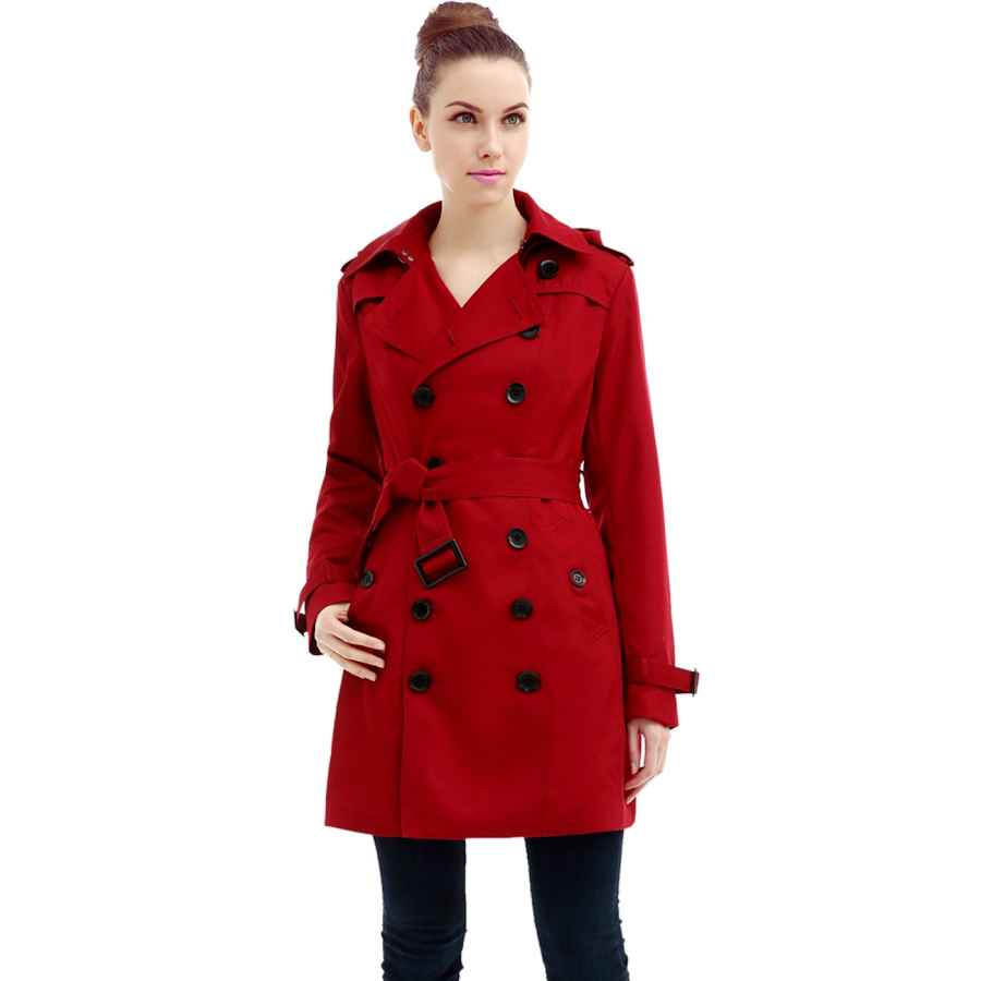Allegra K Women's Elegant Notched Lapel Button Single Breasted Winter Coat