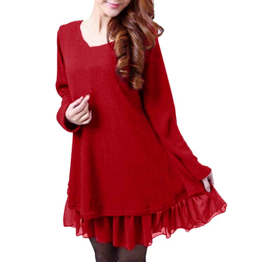 Womens Casual Dresses Zanzea Women Sweater Dress Long Sleeve Party Round Neck Plus Size Loose Casual Tunic Dresses