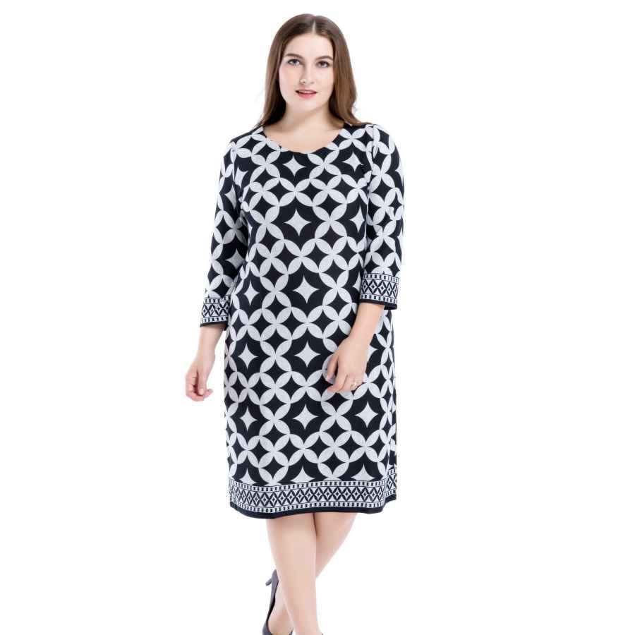 Womens Casual Dresses Chicwe Women's Plus Size Cashmere Touch Printed Shift Dress - Knee Length Work And Casual Dress