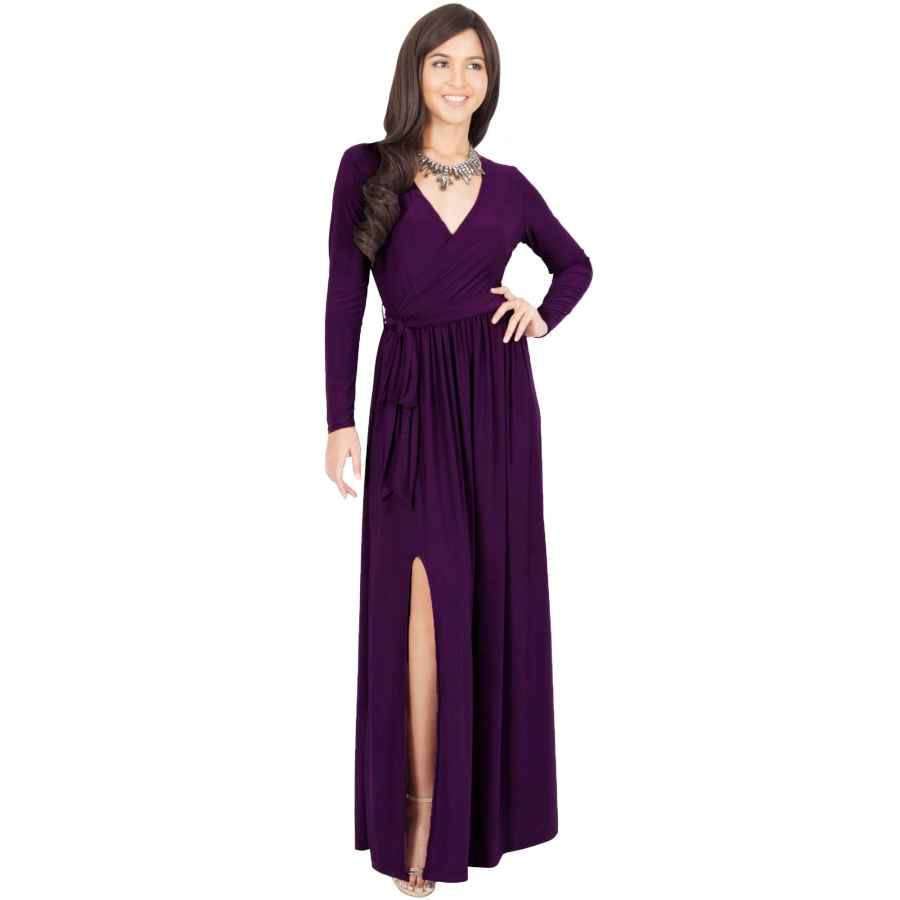 Womens Casual Dresses Koh Koh Womens Long Sleeve V-Neck Cross Over High Slit Cocktail Evening Gown Maxi Dress