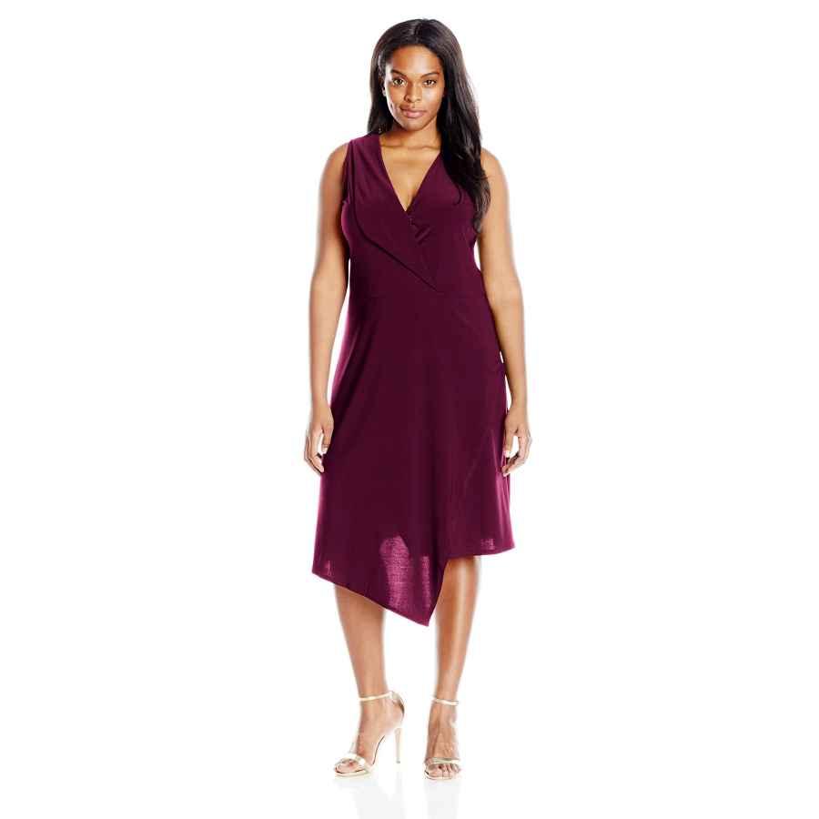 Party Dresses Star Vixen Women's Plus Size Sleeveless Assymetrical Fauxwrap