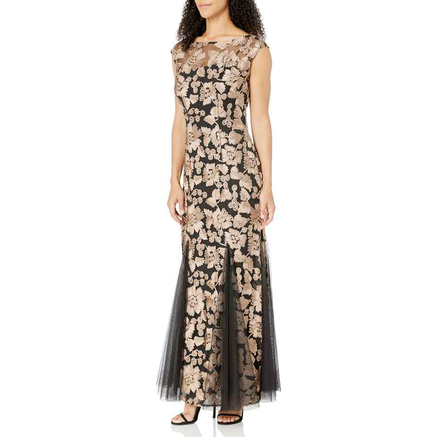 Cocktail dresses alex evenings women's embroidered dress with illusion neckline
