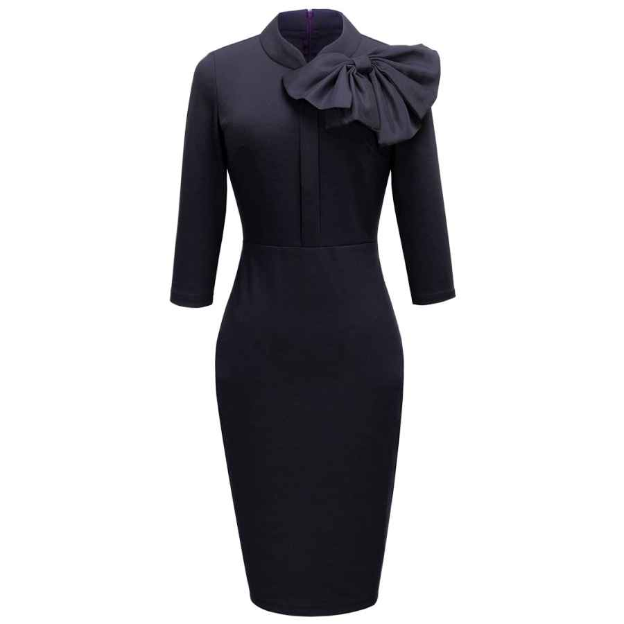 Party Dresses Homeyee Women's Vintage Bowknot 3/4 Sleeve Party Dress