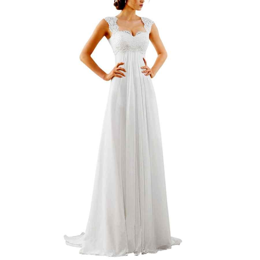 Wedding Dresses Women's Sleeveless Lace Chiffon Evening Wedding Dresses Bridal
