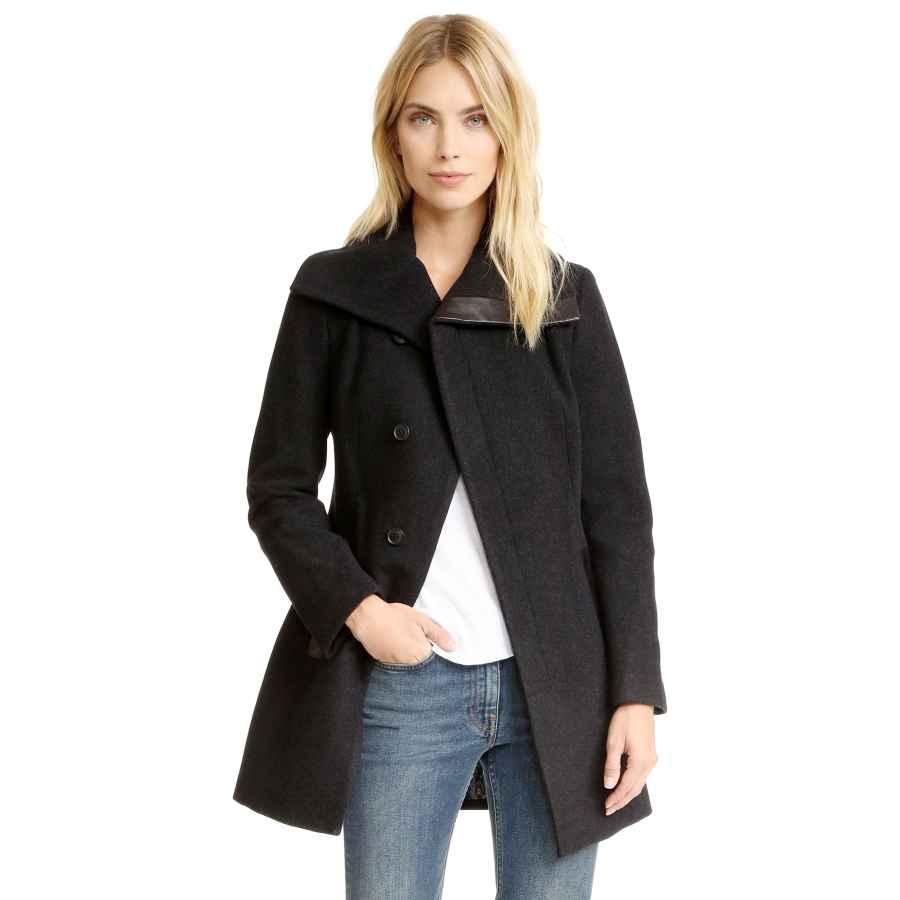 Ebossy Women's Double Breasted Fleece Lapel Wool Blend Coat Winter Overcoat Outerwear
