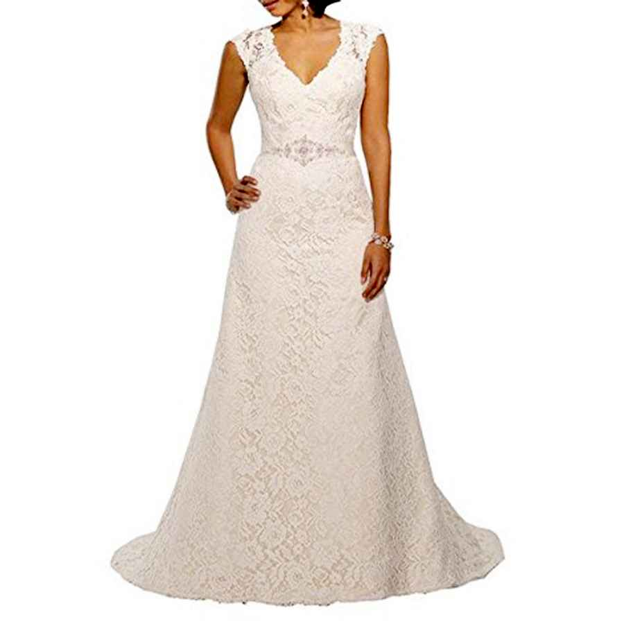 Wedding Dresses Yipeisha V Neckline A Line Cap Sleeve Lace