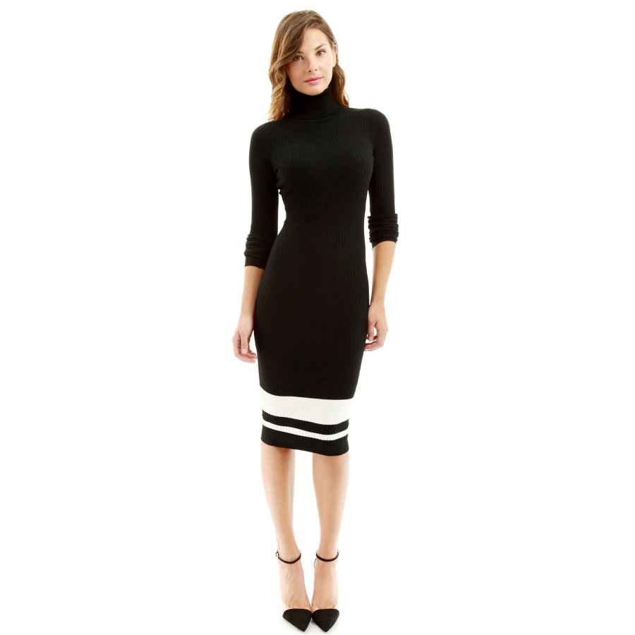 Womens Casual Dresses Pattyboutik Women Turtleneck Ribbed Sweater Dress