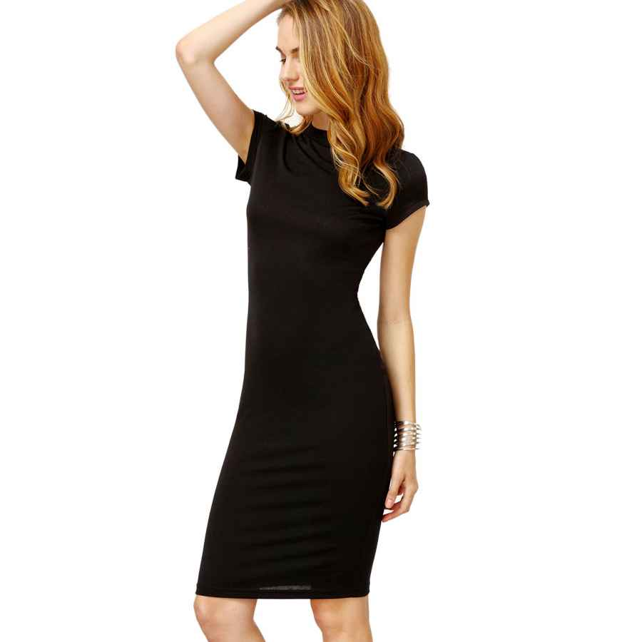 Womens Casual Dresses Makemechic Women's Short Sleeve Classy Solid Stretchy Wear To Work Pencil Dress