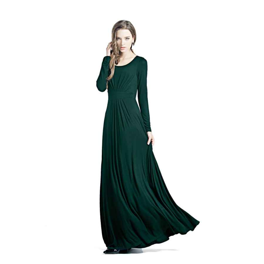 Womens Casual Dresses Charm Your Prince Women's Designer Round Neck Long Sleeve Maxi Dress