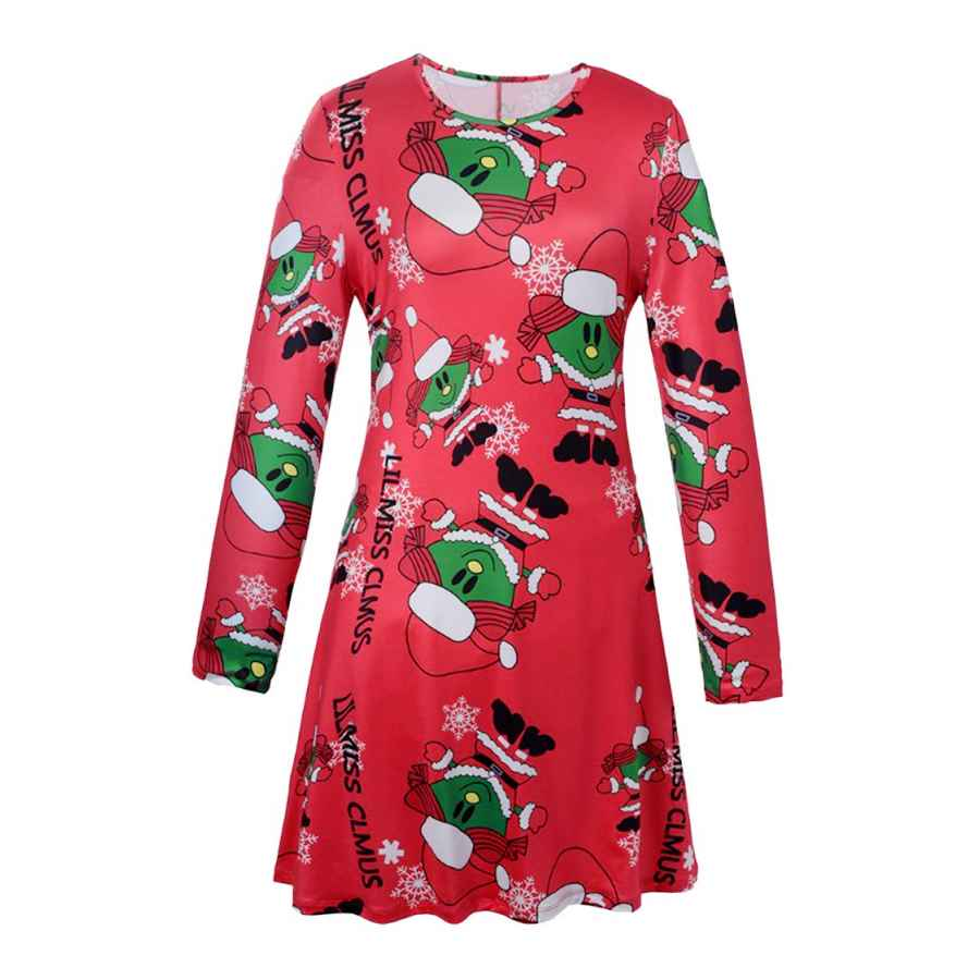 Womens Casual Dresses Pink Queen Women's Ugly Printed Christmas A Line Flared Skater Dress