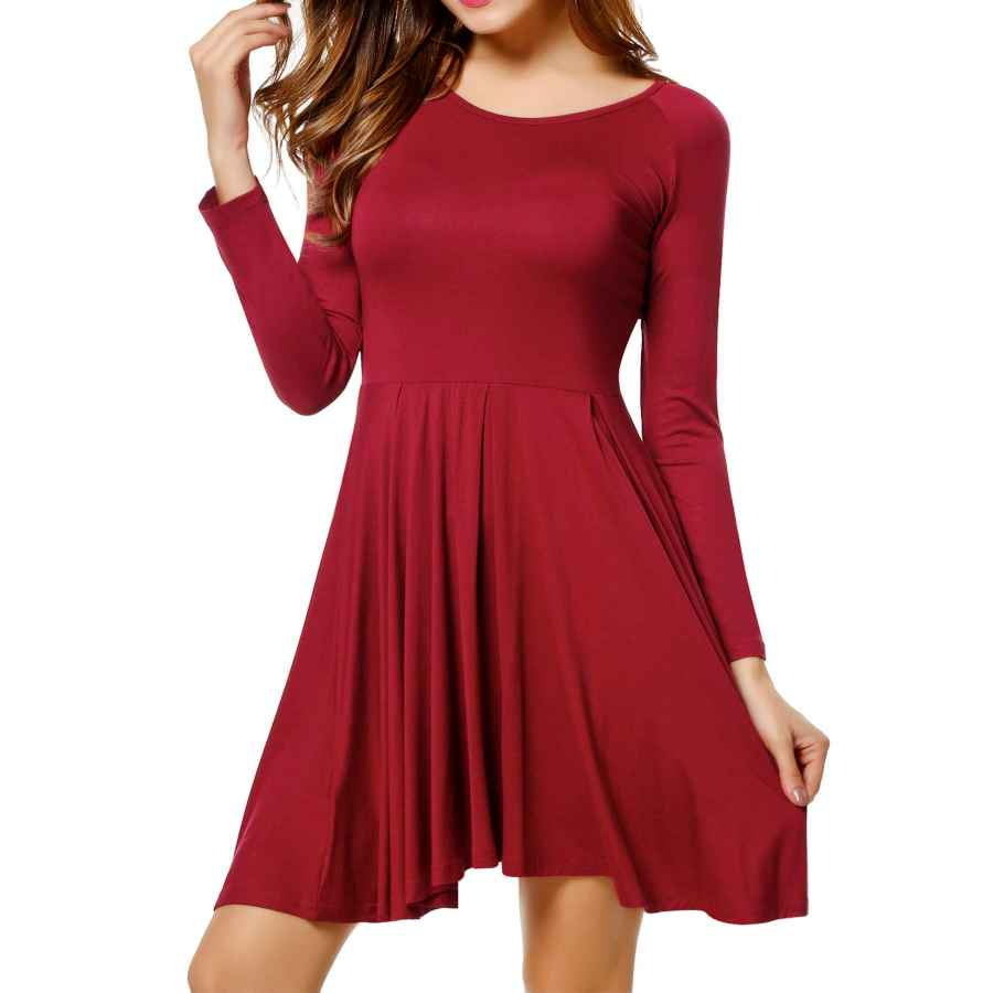 Womens Casual Dresses Meaneor long sleeve Womens dresses Casual o-Neck Soft Pleat Plain Short Dresses S-Xxl