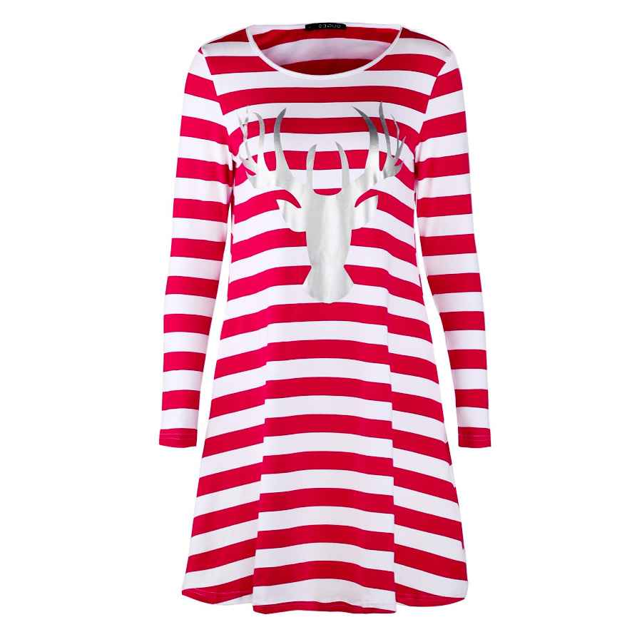 Womens Casual Dresses Ouges Women's Stripe Christmas Santa Tunic Dress