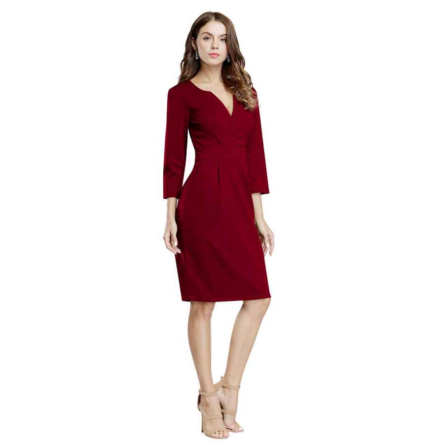 Womens Casual Dresses Hiqueen Women Vintage Office Work Business Party Bodycon Pencil Dress