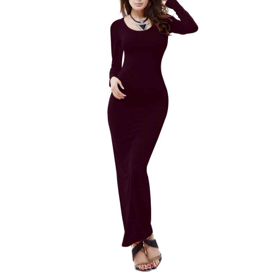 Womens Casual Dresses Yming Women's Casual Long Dress Long Sleeve Maxi Solid Color Bodycon Dress