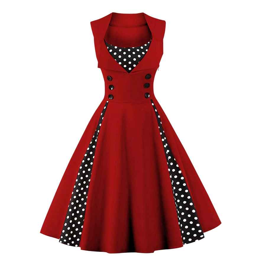 Womens Casual Dresses Killreal Women's Polka Dot Retro Vintage Style Cocktail Party Swing Dresses