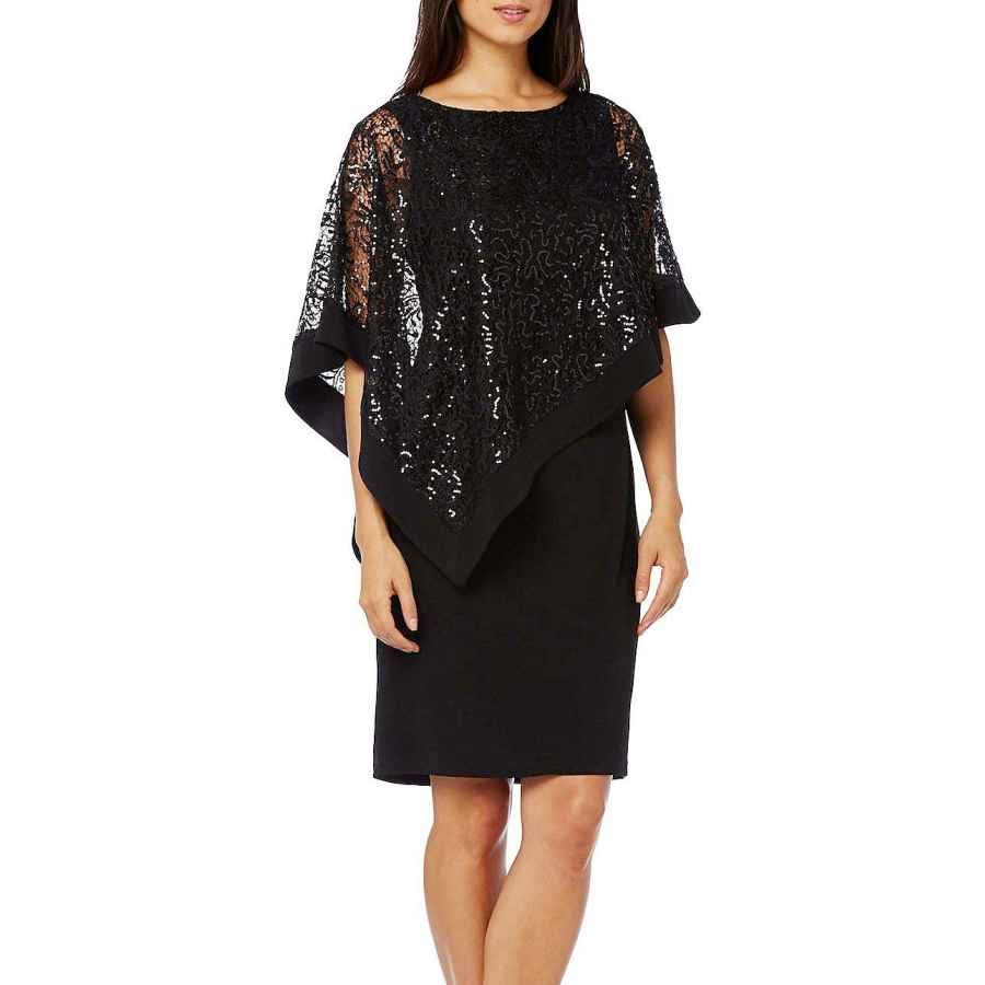 Womens Casual Dresses R&M Richards Women's Short Laced Poncho Dress Missy