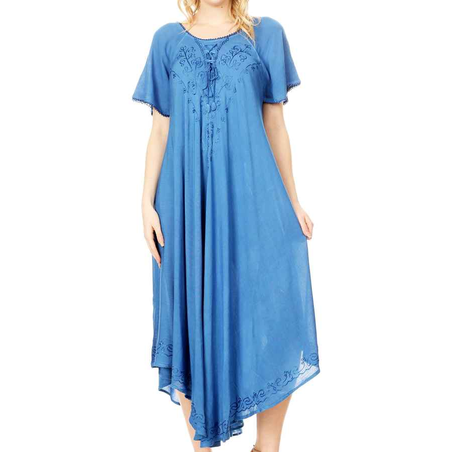 Womens Casual Dresses Sakkas Lilia Embroidered Lace Up Bodice Relaxed Fit Maxi Sun Dress