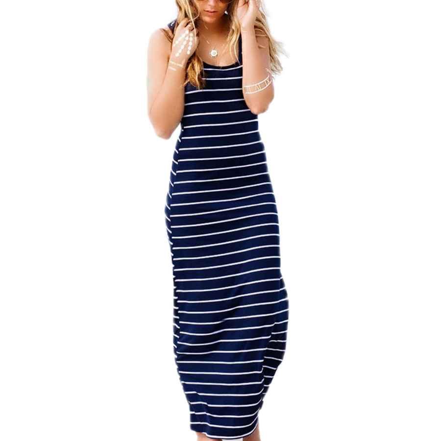 Womens Casual Dresses Zanzea Women's Sleeveless Striped Maxi Dress Scoop Neck Party Beach Sundress Loose Long Dresses