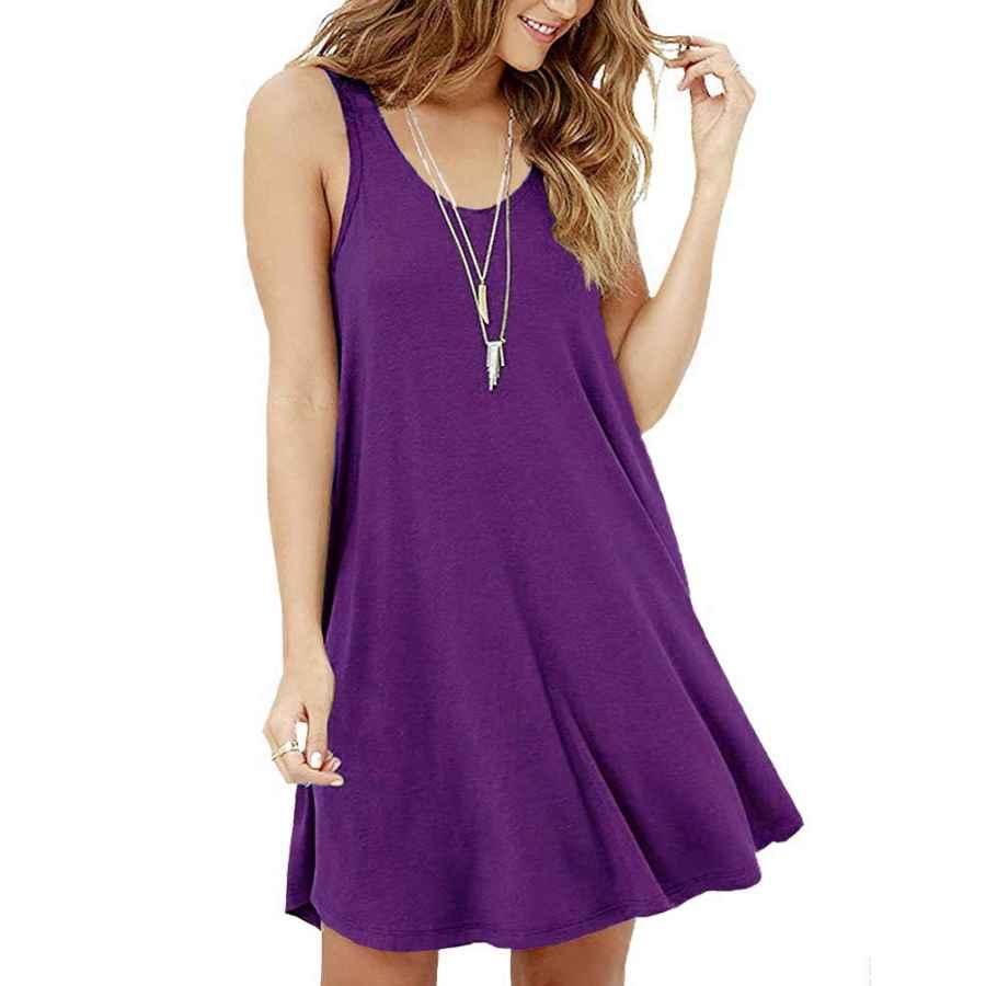 Womens Casual Dresses Viishow Women's Summer Sleeveless Casual Swing Simple T-Shirt Loose Dresses