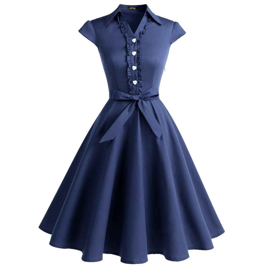 Cocktail Dresses Wedtrend Women's 1950s Retro Rockabilly Dress Cap Sleeve