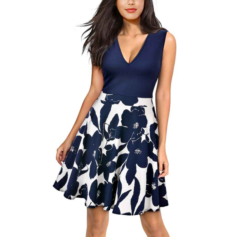 Womens Casual Dresses Miusol Women's Casual Flare Floral Contrast Evening Party Mini Dress