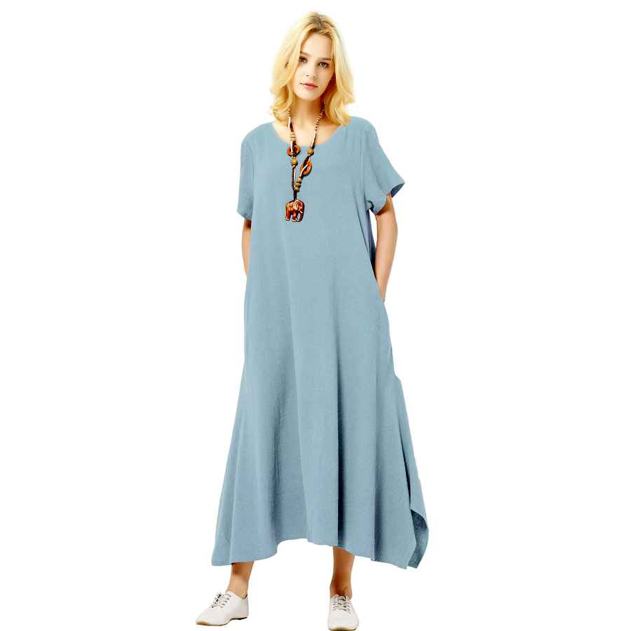 Womens Casual Dresses Anysize Linen Cotton Soft Loose Spring Summer Dress Plus Size Clothing F126a