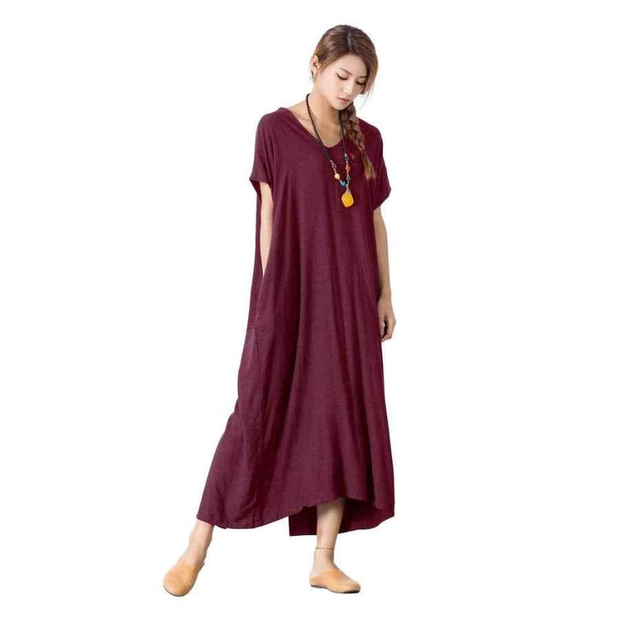 Womens Casual Dresses Sellse Women's Linen Loose Summer Large Size Long Dress Plus Size Cotton Clothing
