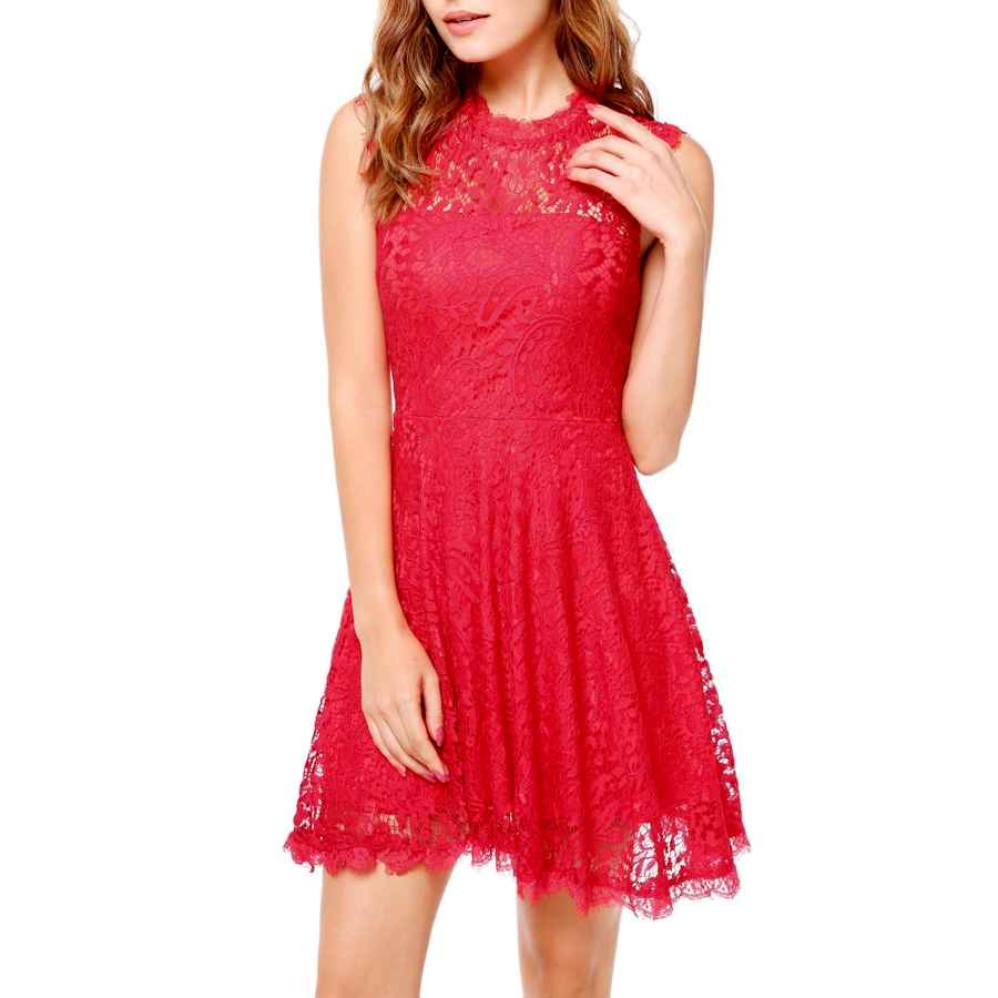 Womens Casual Dresses Angvns Women Elegant Long Sleeve A Line Party Cocktail Formal Swing Lace Dress With Lining