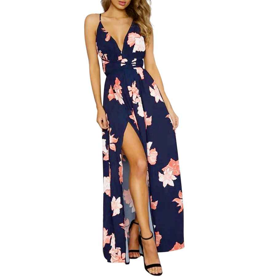 Womens Casual Dresses Simplee Women's Deep V Neck Backless Spaghetti Strap Floral Casual Maxi Dress