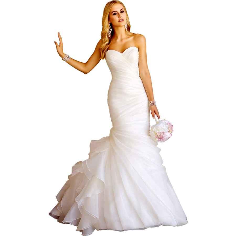 Wedding Dresses Women's Sweetheart Ruched Organza Bridal Gown Mermaid Wedding
