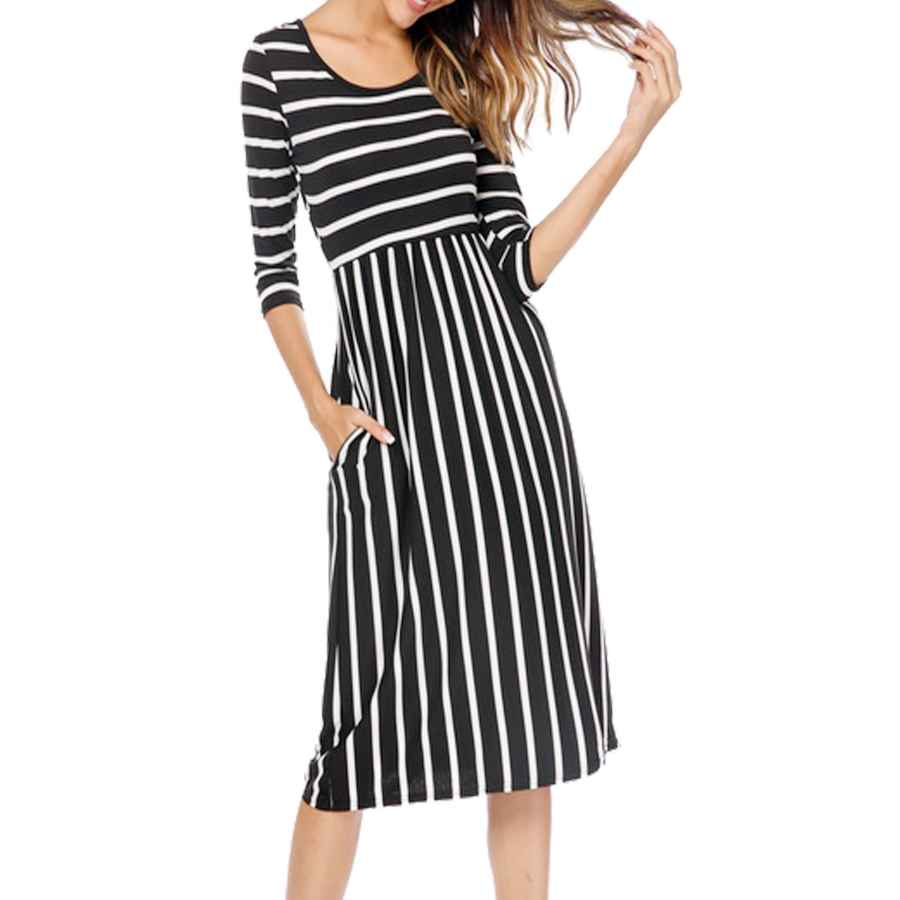 Womens Casual Dresses Halife Women's 3 4 Sleeve Stripe Elastic Waist Casual Dress With Pocket