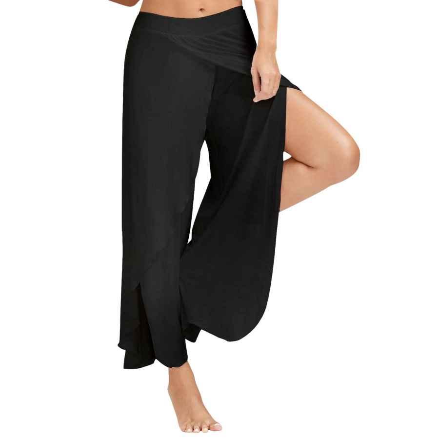 Pants Casual Women Cropped Pants High Split Flowy Layered Yoga
