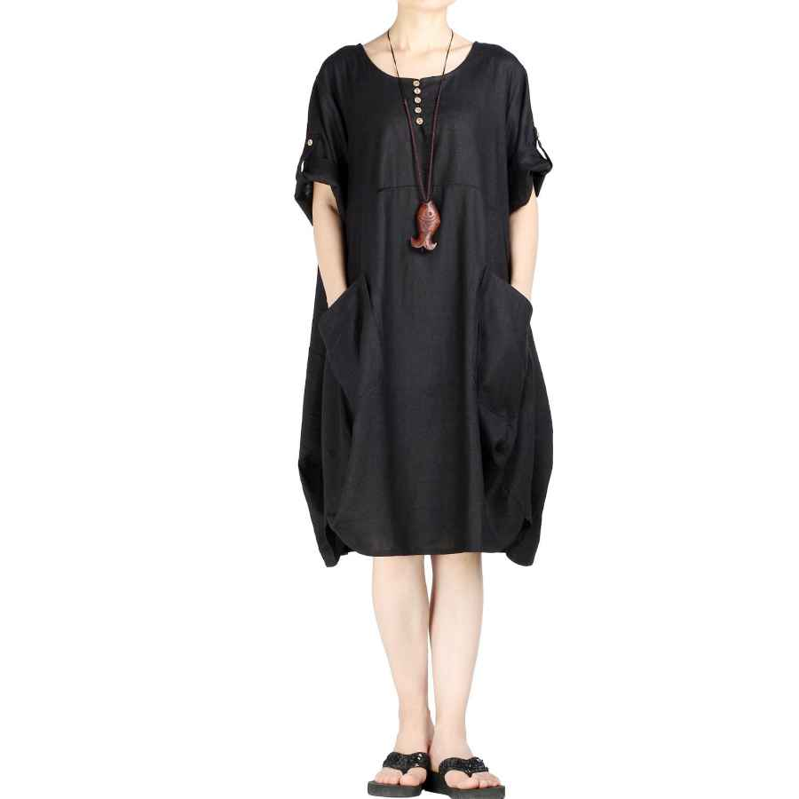 Womens Casual Dresses Mordenmiss Women's Cotton Linen Dresses Plus Size Summer Roll-Up Sleeve Baggy Sundress With Pockets