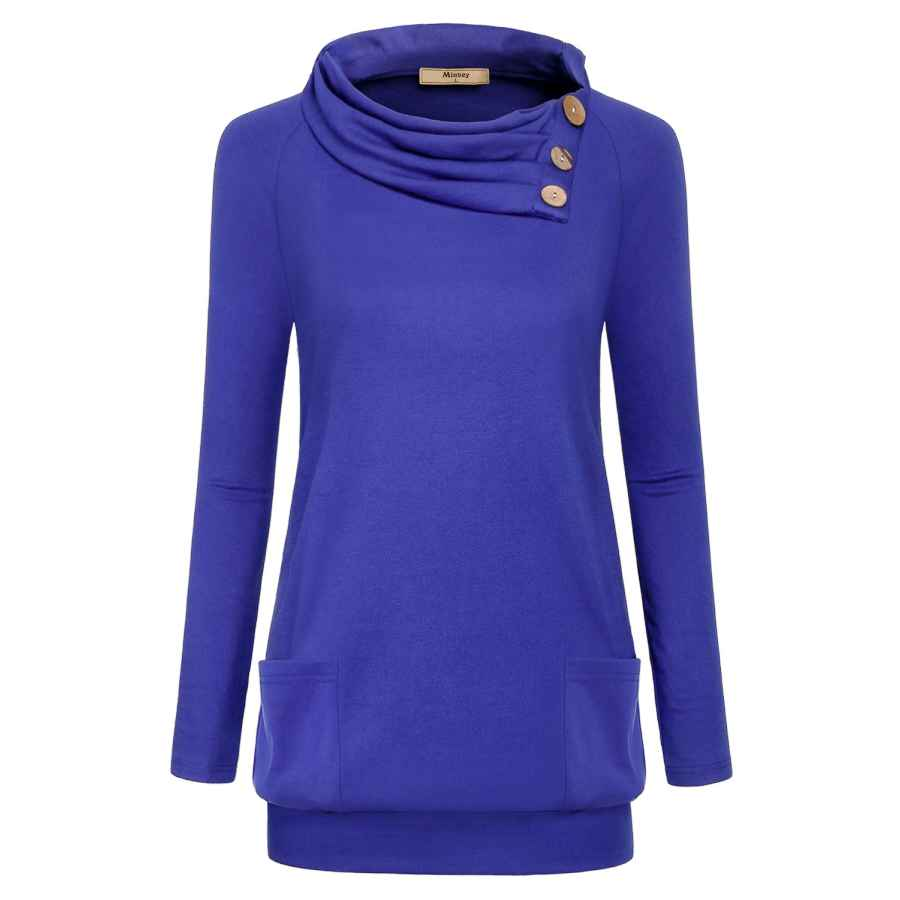 Pullower Miusey Womens Raglan Long Sleeve Cowl Neck Pullover Casual