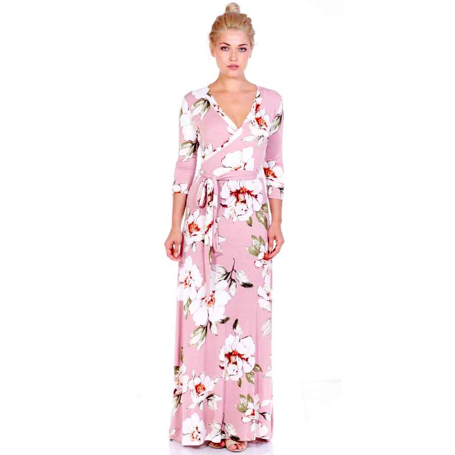 Womens Casual Dresses Popana Womens Casual Faux Wrap Long Floral Maxi Dress 3/4 Sleeves - Made In Usa