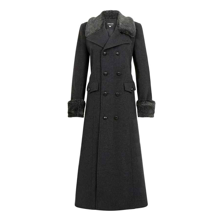 De La Creme - Grey Women`S Winter Wool Cashmere Military Coat Faux Fur Collar