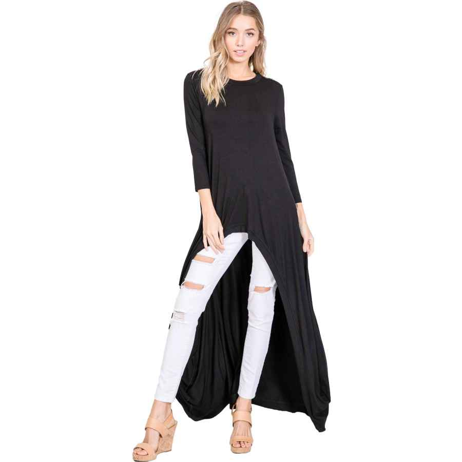 Pullower Annabelle 3/4 Sleeve High Low Casual Long Maxi Tunic