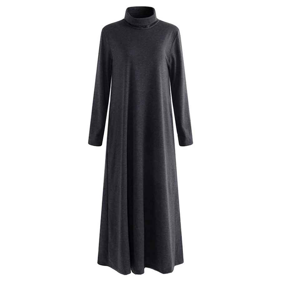 Womens Casual Dresses Simshion Women's Turtleneck Maxi Dress With Side Pocket Casual Long Sleeve Dresses