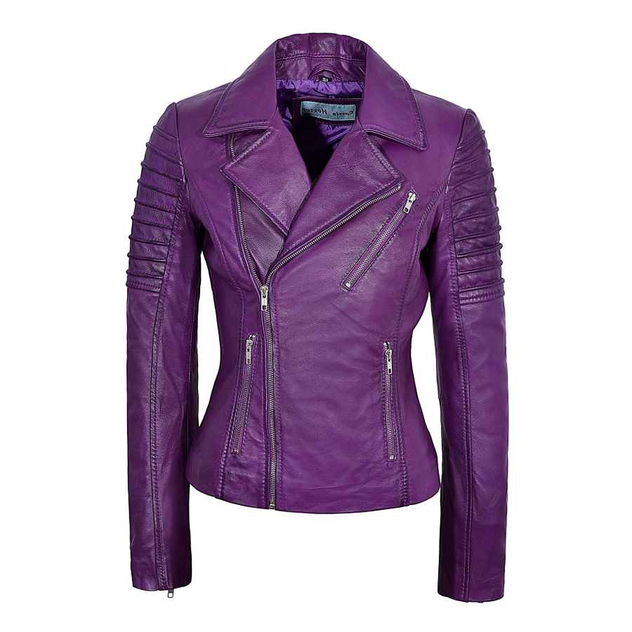 Ladies Real Leather Jacket Stylish Fashion Designer Soft Biker Motorcycle Style 9334