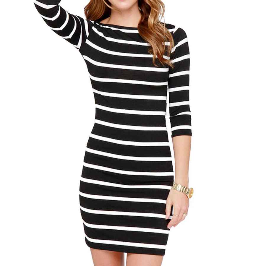 Womens Casual Dresses Haola Women's Sexy Casual Long Sleeve Short Dress Mini Dress Stripe Dresses