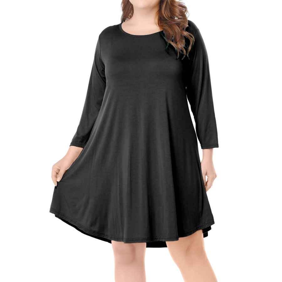 Womens Casual Dresses Belaroi Women's Casual Flare Plain Simple 3/4 Sleeve T-Shirt Loose Dress