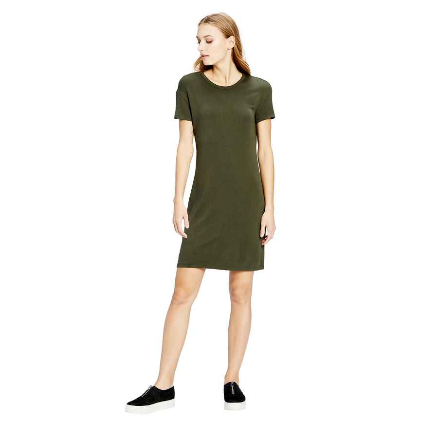 Womens Casual Dresses Amazon Brand - Daily Ritual Women's Supersoft Terry Short-Sleeve Open Crew Neck Dress