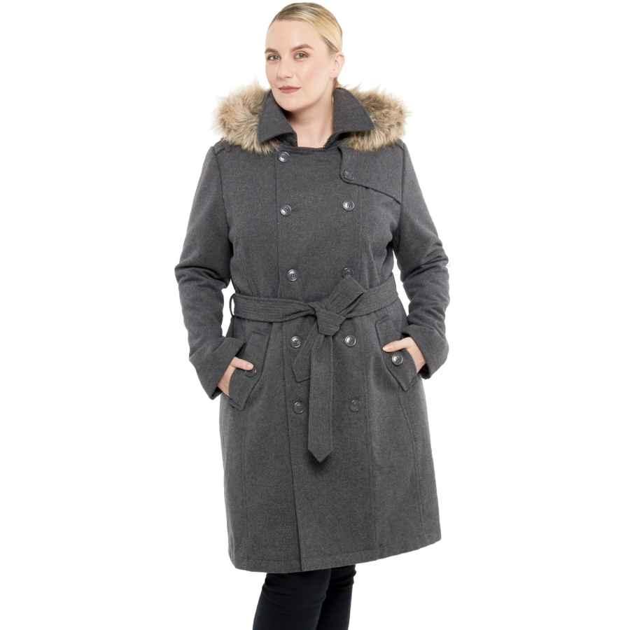 Alpine Swiss Womens Parka Trench Pea Coat Belt Jacket Fur Hood Reg & Plus Sizes